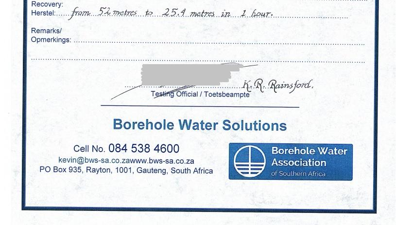 Borehole Yield Certificate